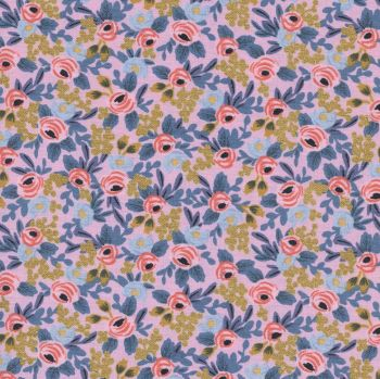Rifle Paper Co Menagerie Rosa Violet Metallic Gold Floral Flower Botanical Rose Cotton Fabric