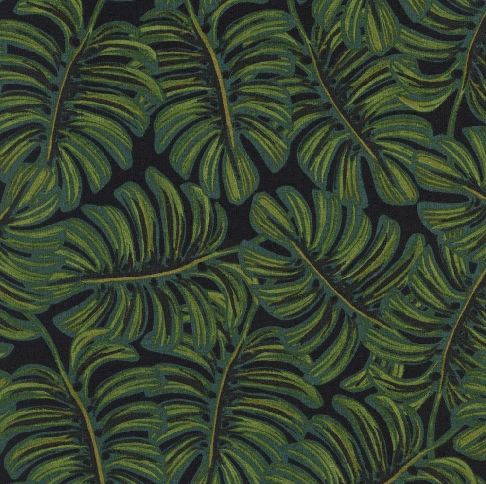 Rifle Paper Co Menagerie Monstera Botanocal Leaves Leaf Rayon Cotton Lawn F
