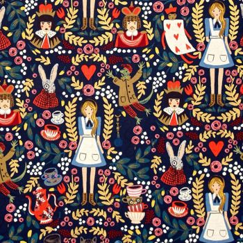 RARE Rifle Paper Co. Wonderland Navy Blue Alice in Wonderland Metallic Gold Cotton Fabric