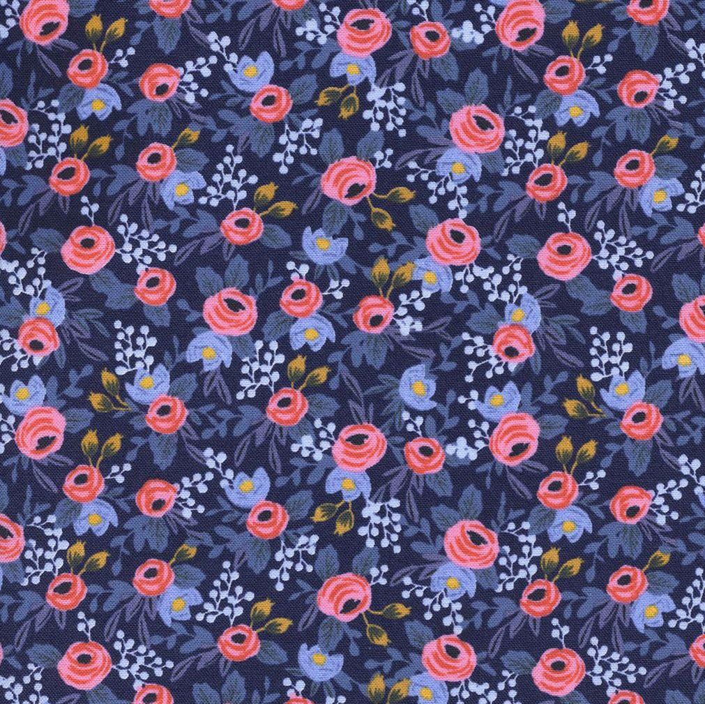 Rifle Paper Co Les Fleurs Rosa Navy Floral Flower Botanical Rose Cotton Fab