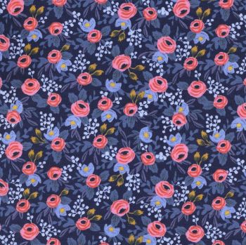 Rifle Paper Co Les Fleurs Rosa Navy Floral Flower Botanical Rose Cotton Fabric