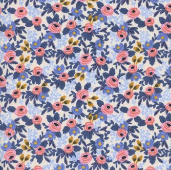 Rifle Paper Co Les Fleurs Rosa Periwinkle Floral Flower Botanical Rose Cotton Fabric