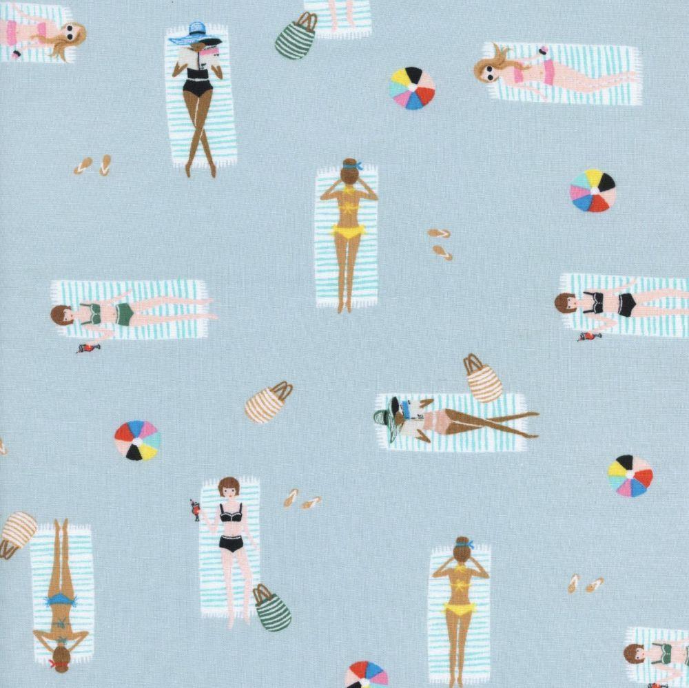 Rifle Paper Co Amalfi Sun Girls Sky Rayon Cotton Lawn Fabric