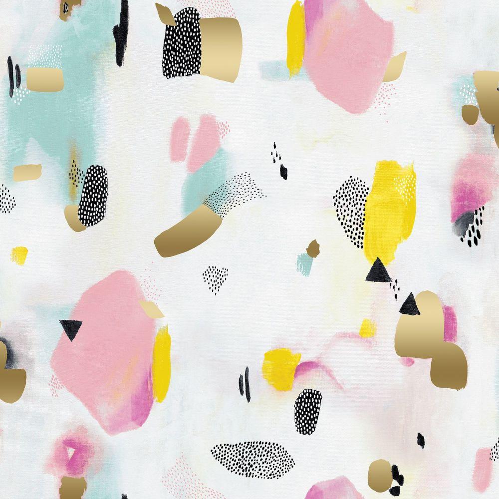 Girl's Club Pastel Parade Pink Gold Metallic Geometric Abstract Piet En Kee