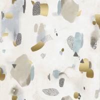 Girl's Club Pastel Parade Vellum Gold Metallic Geometric Abstract Piet En Kees Cotton Fabric