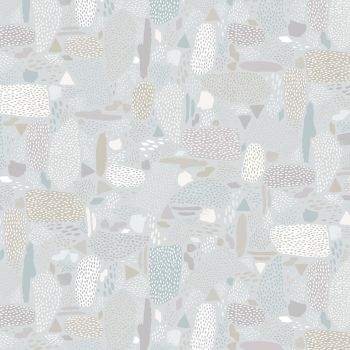 Girl's Club Pebbles in Grey Geometric Abstract Piet En Kees Cotton Fabric