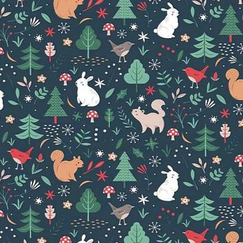 Sparkle All The Way Woodland Animals Orion Bunny Christmas Tree Squirrel Robin Festive Holiday Dear Stella Cotton Fabric