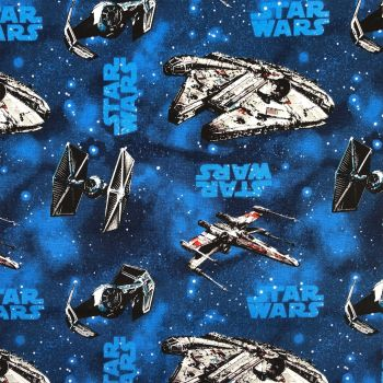 Star Wars Immortals Ships Blue Millienium Falcon TIE Fighter Space Battle Cotton Fabric