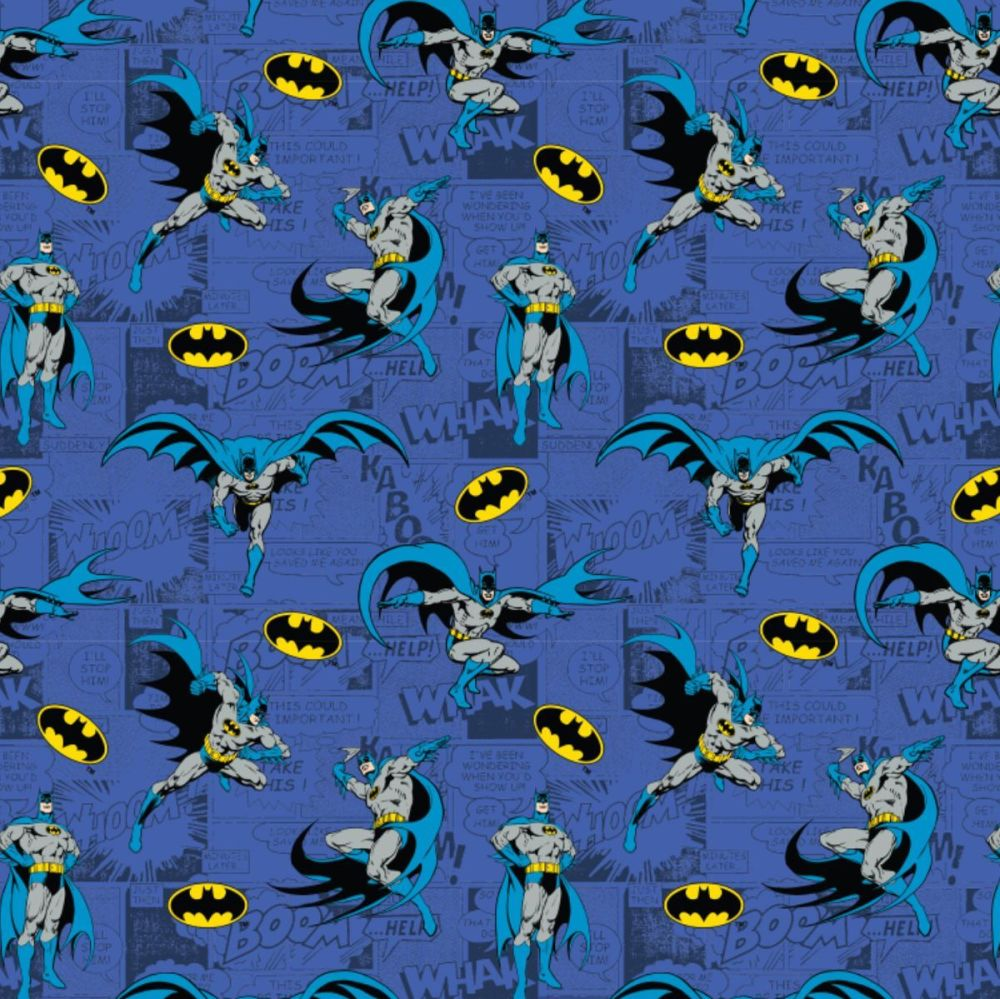 DC Batman Comics Blue Superhero Comic Book Hero Dark Knight Logo Cotton Fab