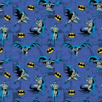DC Batman Comics Blue Superhero Comic Book Hero Dark Knight Logo Cotton Fabric