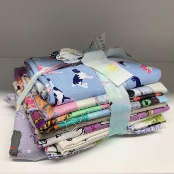 DESTASH Cats and Dogs Stash Starter Bundle Cotton Fabric Stash Stack