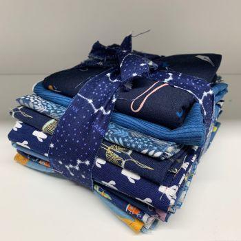 DESTASH Dark Blue Stash Starter Bundle Cotton Fabric Stash Stack