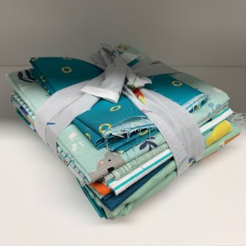 DESTASH Aqua Green Stash Starter Bundle Cotton Fabric Stash Stack