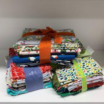 DESTASH Pot Luck Christmas 1 Bundle Stash Starter Bundle Cotton Fabric Stash Stack