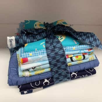 DESTASH Beautiful Blues Stash Starter Bundle Cotton Fabric Stash Stack