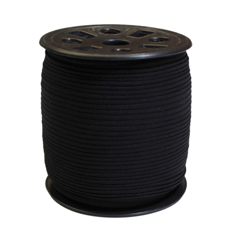 Narrow Banded Elastic 4mm Nylon Black Per Metre