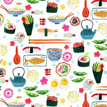 August Wren Tokyo Dreams Sushi Ngiri Maki Fish Japanese Food Restaurant Eating Dear Stella Cotton Fabric