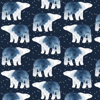 Brave Enough to Dream in Patriot Polar Bear Constellation Bears Winter Dear Stella Cotton Fabric