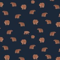 DESTASH 97cm Brave Enough to Dream Tiny Grizzly Brown Bears in Patriot Bear Dear Stella Cotton Fabric