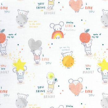 Shine Bright Mouse Mice Stars Text Hearts Dear Stella Cotton Fabric