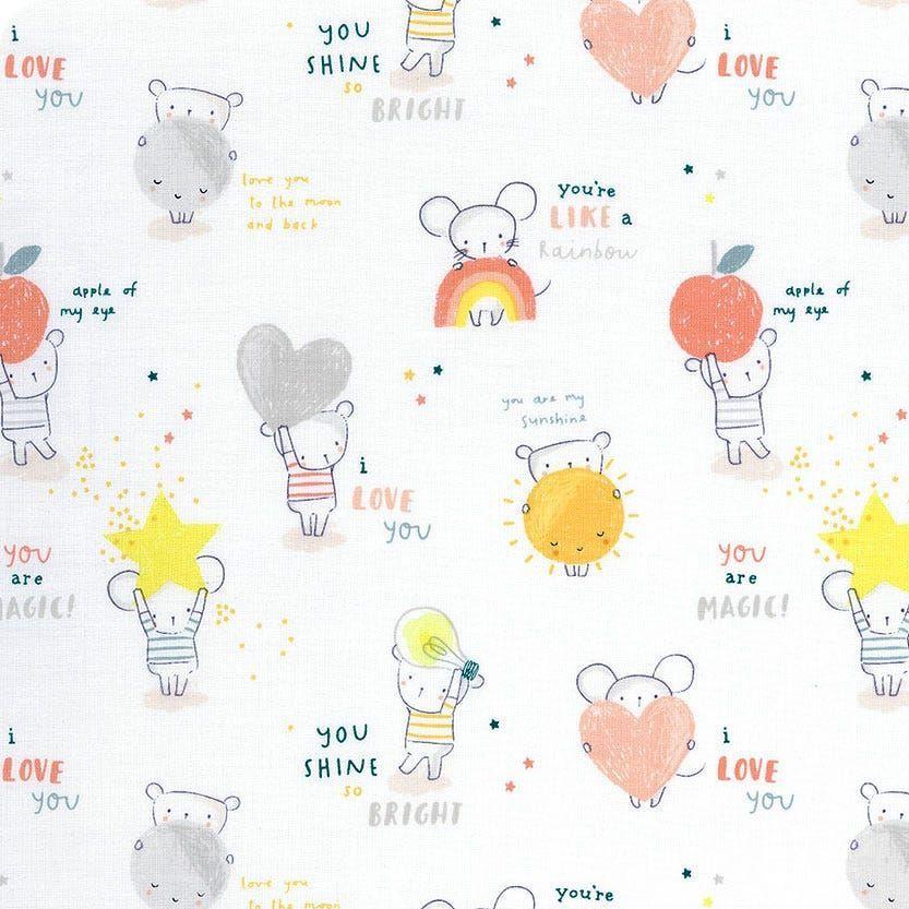Shine Bright Mouse Mice Stars Text Hearts Dear Stella Cotton Fabric
