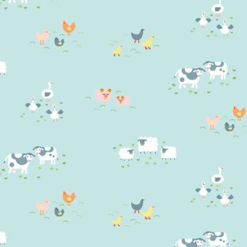 Hey Ewe Out To Pasture Barnyard Chicken Sheep Pig Farm Animals Dear Stella Cotton Fabric