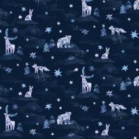Starship Dreamscape Animals Blueprint Winter Dear Stella Cotton Fabric