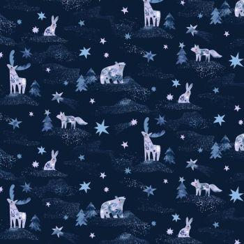 Starship Dreamscape Animals Blueprint Winter Dear Stella Cotton Fabric