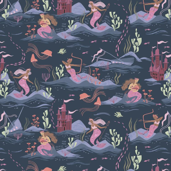 Sea Spell Scenic Mermaids in Blueberry Mermaid Rae Ritchie Dear Stella Cotton Fabric
