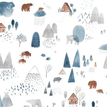 Brave Enough to Dream Dreamscape White Scenic Mountain Bears Buffalo Dear Stella Cotton Fabric