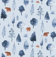 Brave Enough to Dream Walkabout in Misty Bear Tiny Grizzly Brown Bears Dear Stella Cotton Fabric