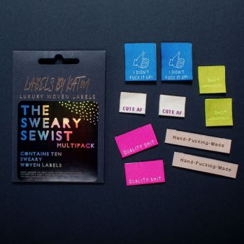 LIMITED EDITION 'The Sweary Sewist' Kylie and the Machine Multi Pack  Woven Labels Mixed 10 Pack