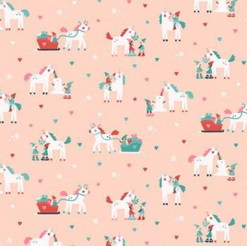 Sparkle All The Way Elves Parfait Unicorn Sleigh Elf Festive Holiday Dear Stella Cotton Fabric