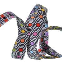 Tula Pink LINEWORK Hexy Rainbow Geometric Black White Ribbon by Renaissance Ribbons per yard