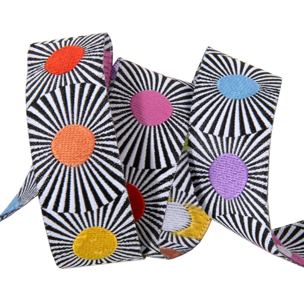 Tula Pink LINEWORK Narrow Multi Dots Rainbow Spots Black White Stripes Ribb