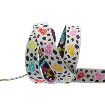 Tula Pink Monkey Wrench Spots on Spots Ladybugs Mango White Ribbon by Renaissance Ribbons per yard