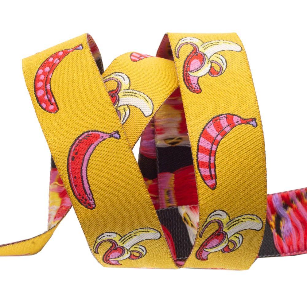 Tula Pink Monkey Wrench Don't Slip Bananas Mango Ribbon by Renaissance Ribb