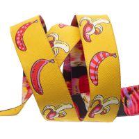 Tula Pink Monkey Wrench Don't Slip Bananas Mango Ribbon by Renaissance Ribbons per yard
