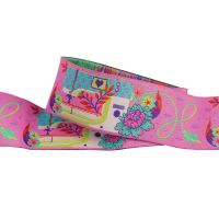 Tula Pink HomeMade Pedal to the Metal in Night Pink Renaissance Ribbons per yard