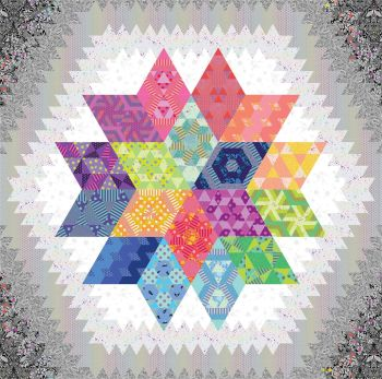 UK Nebula Block of the Month Linework Fabric Pack Hexy Rainbow Option 2 - ORIGINAL SIZE - UK Customers ONLY