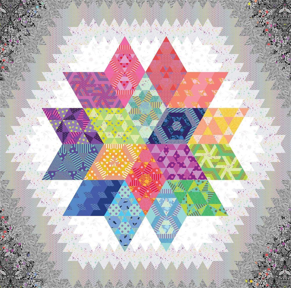 UK Nebula Block of the Month Linework Fabric Pack Hexy Rainbow Option 2 - K