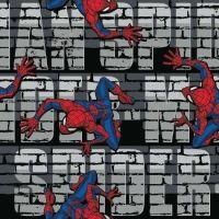 Spider-Man Web Crawler Wall Bricks Text Marvel Spiderman Comic Book Superhero Cotton Fabric