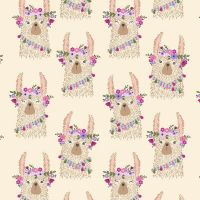 No Cause For A-Llama Llama Heads in Sand Flower Crown Floral Llamas Dear Stella Cotton Fabric