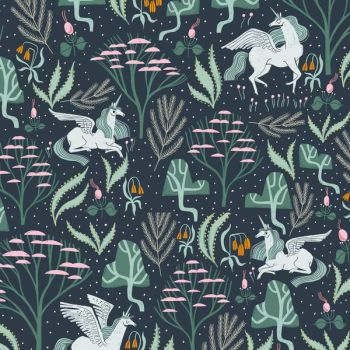 Mythical Mystical Atlantic Unicorn Pegasus Botanical Rae Ritchie Dear Stella Cotton Fabric