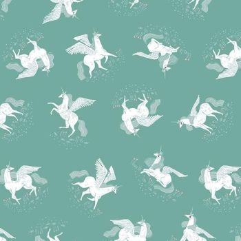 Mythical Tossed Unicorn Billiard Pegasus Unicorns Rae Ritchie Dear Stella Cotton Fabric