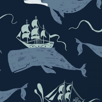 Aweigh North Whale Ships Rae Ritchie Whales Ship Dear Stella Cotton Fabric