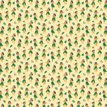 Aloha Hula Girl Dancer Tropical Botanical Dear Stella Cotton Fabric
