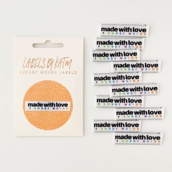 "Kylie and the Machine ""MADE WITH LOVE AND SWEAR WORDS"" Woven Labels 10 Pack"