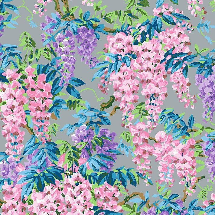 Kaffe Fassett Collective 2020 Wisteria Grey Floral Flowers Philip Jacobs Co