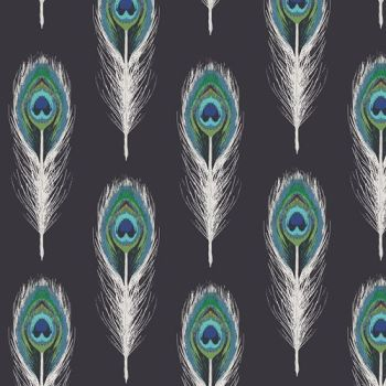 Art Gallery Fabrics Decadence Plumage Mirrors Noir Katarina Roccella Peacock Feather Cotton Fabric